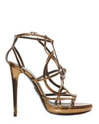 Roberto Cavalli | Metallic 130mm Swarovski and Metal Calfskin Sanda | Lyst