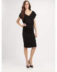 Alice + Olivia | Black Mid-length Ruched Dress | Lyst
