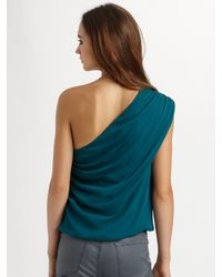 Alice + Olivia | Blue Roxy One-shoulder Drape Top | Lyst