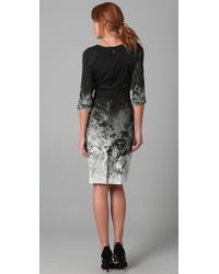 Elie Tahari | Black Bianca Elbow Sleeve Ombre Printed Dress | Lyst