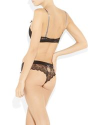 Elle Macpherson - Black Obsidian Rita Lace and Silk-satin Thong - Lyst