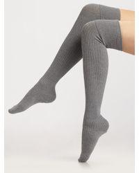 Falke | Gray Striggings Ribbed Over The Knee Socks | Lyst