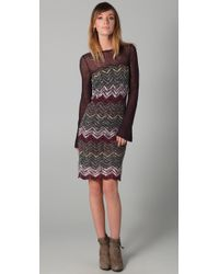 Free People | Gray Chevron Sweater Dress | Lyst