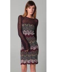 Free People - Gray Chevron Sweater Dress - Lyst