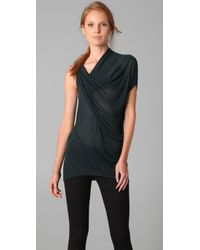 Helmut Lang | Green Draped Top | Lyst