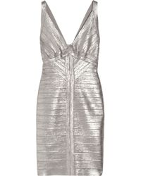 Hervé Léger   Metallic Bandage Dress   Lyst