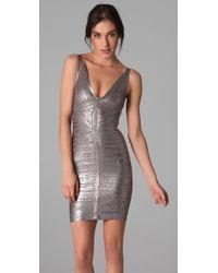 Hervé Léger | Metallic Foil V Neck Dress | Lyst