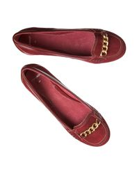 Jigsaw | Red Chain Suede Heeled Loafers | Lyst