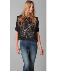 Joie | Black Fanny Scalloped Lace Top | Lyst