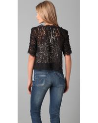 Joie - Black Fanny Scalloped Lace Top - Lyst