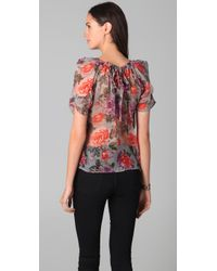 Joie | Gray Eleanor Shadow Floral Blouse | Lyst