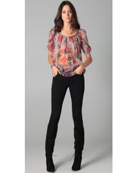 Joie - Gray Eleanor Shadow Floral Blouse - Lyst