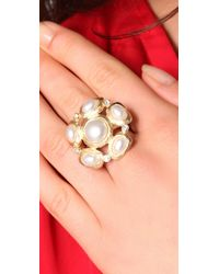 Kenneth Jay Lane | White Pearl Cluster Ring | Lyst