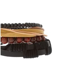 ASOS Collection | Multicolor Asos Chunky Leather and Wood Bracelet Pack for Men | Lyst