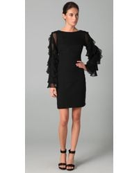 Notte by Marchesa | Black Chiffon Shift Dress with Ruffle Sleeves | Lyst