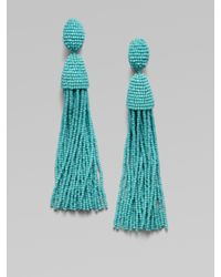 Oscar de la Renta | Blue Hematite Seed Beaded Fringe Earrings | Lyst