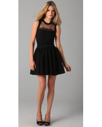 RED Valentino - Black Sleeveless Knit Dress with Lace - Lyst