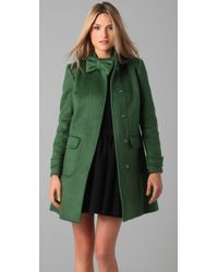 RED Valentino | Green Mohair Coat with Bow Detail | Lyst