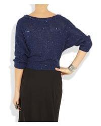 Splendid - Blue Sequin-embellished Knitted Cotton-blend Sweater - Lyst