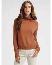 Theory | Brown Adalbert Semi-sheer Turtleneck Sweater | Lyst