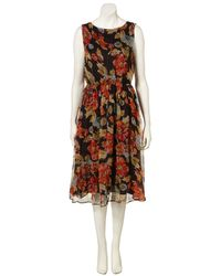 TOPSHOP - Black Floral Print Midi Dress - Lyst
