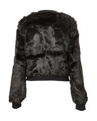 TOPSHOP | Black Glossy Faux Fur Bomber Jacket | Lyst
