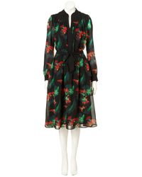TOPSHOP | Black Parrot Palm Midi Dress | Lyst