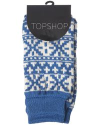 TOPSHOP | Blue Aztec Print Legwarmers | Lyst