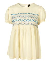 TOPSHOP | Natural Smock Top By Boutique | Lyst