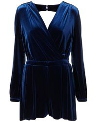 TOPSHOP - Blue Premium Velvet Playsuit - Lyst