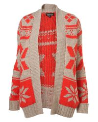 TOPSHOP | Natural Knitted Snowflake Cardigan | Lyst
