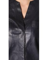 VINCE | Blue Leather Shirtdress | Lyst