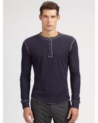 VINCE | Blue Plated Thermal Henley for Men | Lyst