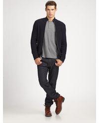 Vince | Black Wool Zip-up Sweater for Men | Lyst