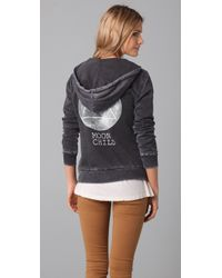 Wildfox | Metallic The Moon Child Love Story Hoodie in Dirty Black | Lyst