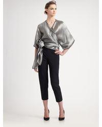 Armani - Gray Kimono Top - Lyst