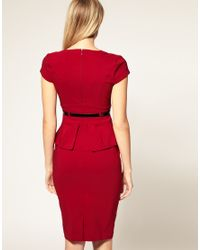 ASOS Collection - Red Asos Petite Exclusive Belted Workwear Dress with Peplum Detail - Lyst