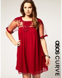 ASOS Collection - Red Asos Curve Shift Dress with Embellished Mesh and Trim - Lyst