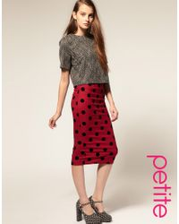 ASOS Collection | Red Asos Petite Flock Spot Pencil Skirt | Lyst
