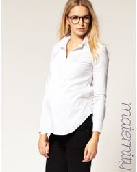 ASOS Collection | White Asos Maternity Exclusive Shirt with Pintucking | Lyst