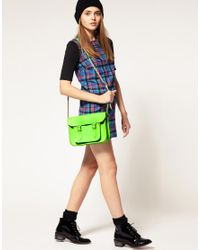 Cambridge Satchel Company | Exclusive To Asos 11 Green Fluro Cracked Leather Satchel | Lyst