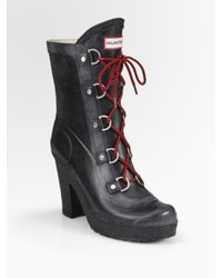 HUNTER | Black Gabby Lace-up Ankle Boots | Lyst
