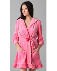 Juicy Couture | Pink Velour Robe with Tie | Lyst