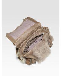 Olivia Harris | Brown Small Shearling Messenger Bag | Lyst