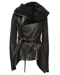 Rick Owens | Black Shearling Belted Jacket | Lyst