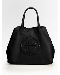 Tory Burch | Black Stacked Logo Classic Tote Bag | Lyst