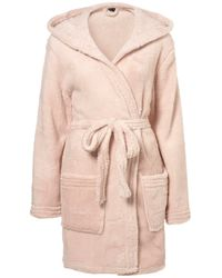 TOPSHOP | Pink Hooded Fluffy Pj Robe | Lyst