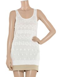 DKNY | White Broderie Anglaise Cotton-blend Tunic | Lyst