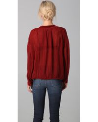 Free People - Red Pleated Blouse with Velvet Trim - Lyst
