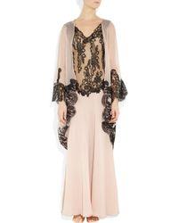 Rosamosario - Pink Mezza Luna Silk-crepe and Lace Robe - Lyst